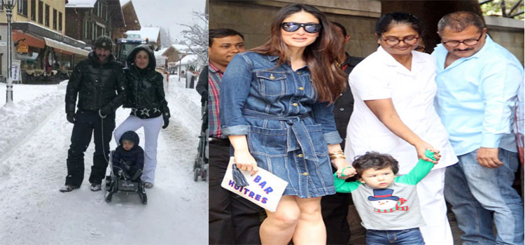 Taimur Enjoying Snowfall In Switzerland With Saifeena